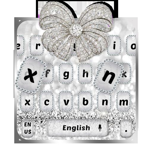 White Gold diamond bow Keyboard Theme