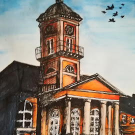 City Hall by Zeljko Secujski - Drawing All Drawing ( orange, blue sky, blue, city, buildings, sombor, serbia, city hall, building, architecture )