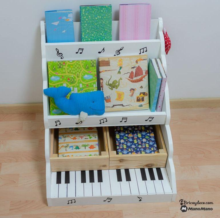 montessori method bookcase and piano