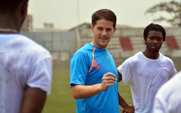Photo: Coach McKinstry speaks with the Leone Stars on Day 1 of training [Training camp ahead of Leone Stars v Ivory Coast on 6 September 2014 (Pic © Darren McKinstry / www.johnnymckinstry.com)]