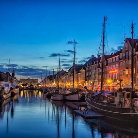 Nyhavn in the Blue Hour by Daniel Schwabe - City,  Street & Park  Street Scenes ( copenhagen, reflection, blue hour, nyhavn, harbour, night, boat )
