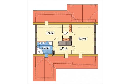 Ambrozja wersja B z poddaszem z pojedynczym garażem - Rzut poddasza do adaptacji