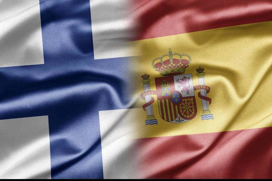Las banderas de Finlandia y España unidas por Rayito.