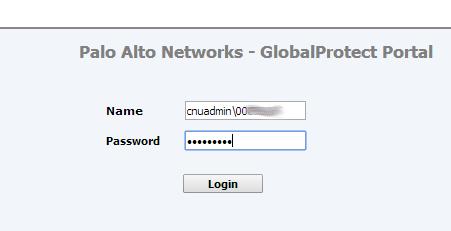 GlobalProtect Password Login