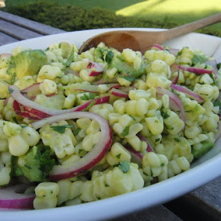 CORN AND AVOCADO SALAD WITH QUICK PICKLED ONIONS