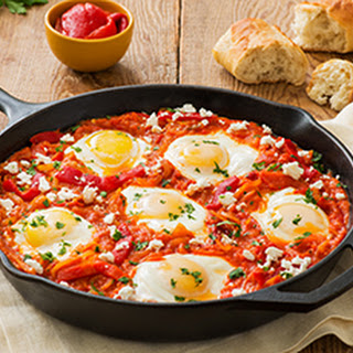Shakshuka (Eggs Baked in Sauce with Peppers and Onions)