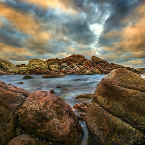 Water by Greg Tennant - Landscapes Waterscapes ( clouds, water, sunset, ocean, rocks,  )