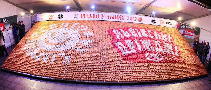 Photo: The largest doughnut mosaic was created with 7,040 doughnuts at the Lviv Pampykh Festival in Lviv, Ukraine