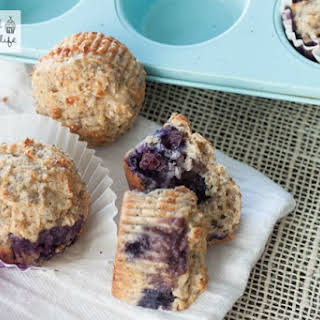 Whole Wheat Lemon Blueberry Protein Muffins.