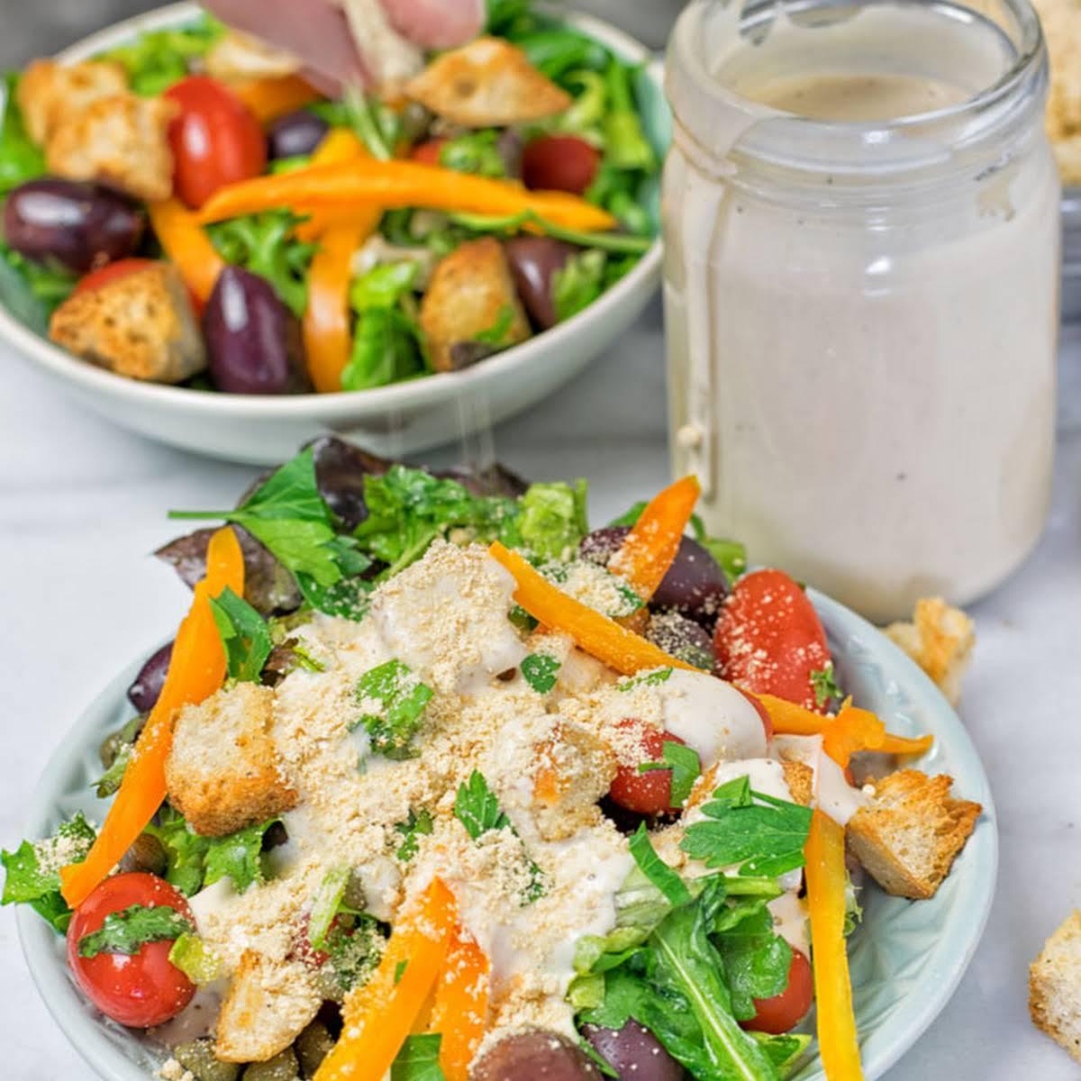 Roasted Garlic Vegan Parmesan Salad Dressing