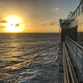 Sunrise off cruise ship by Mary Waters - Landscapes Sunsets & Sunrises ( sunrise, seascape, cruiseship, sea, morning )