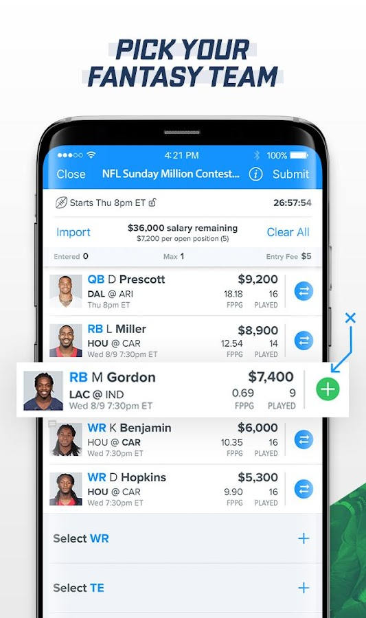 FanDuel: Daily Fantasy Sports- screenshot