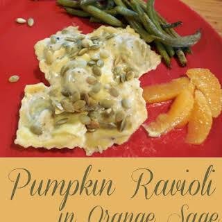 Pumpkin Ravioli in Orange Sage Cream Sauce -.