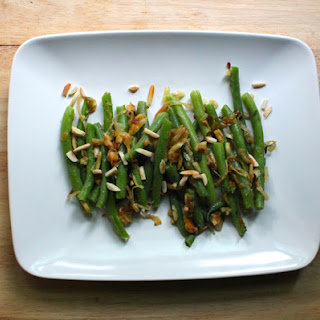 Carmaelized Onion Green Beans with Toasted Almonds