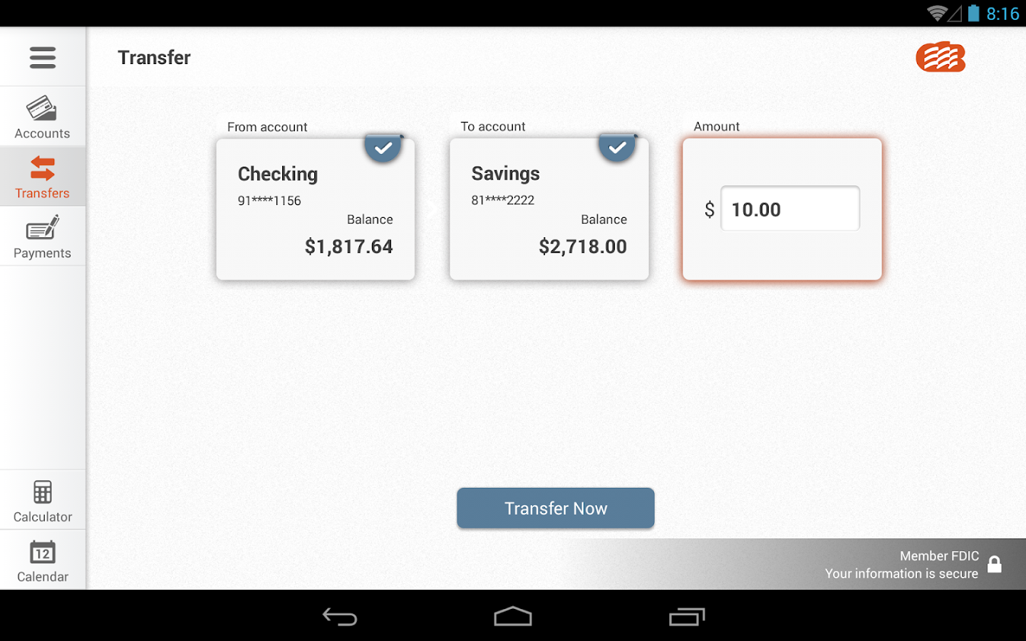EZ Banking for Tablet- screenshot