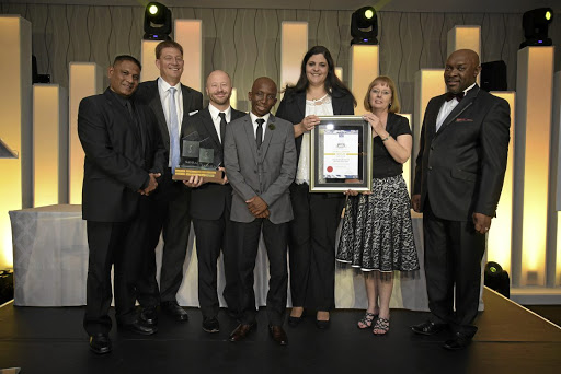 Toyota takes the Savrala Manufacturer of the Year Award. From left:  L-R: Winston Guriah, president of Savrala; Toyota representatives Johannn Theart, Patrick Carroll, Ramatjitla Penyane, Michelle Schwartz and  Christine Kruger; and Sandile Ntseoane, Savrala GM. general manager.