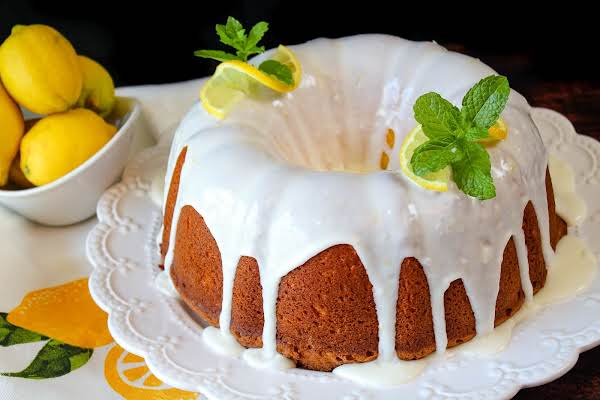 Lemon Lovers Pound Cake Ready To Be Sliced.