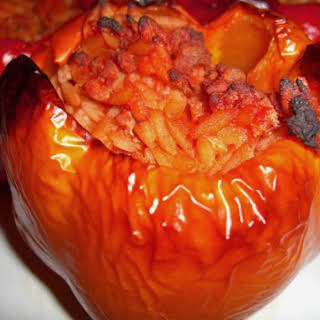 Stuffed Peppers in Tomato sauce.