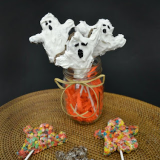 Halloween Snack Recipes - Pebbles Cereal Ghost Treats