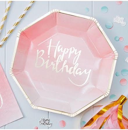 Tallrikar rosa ombre Happy Birthday