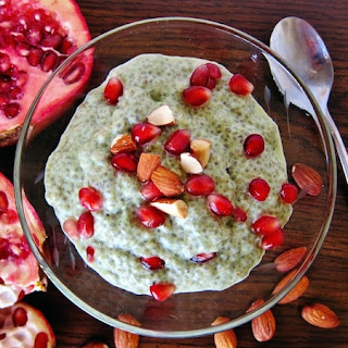 Matcha Almond Chia Porridge with Pomegranate