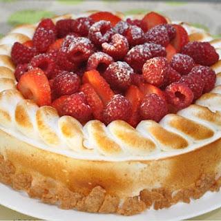 Lemon Raspberry Layer Cake with Meringue Frosting