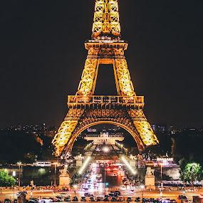Paris at night by Mo Kazemi - City,  Street & Park  City Parks ( eiffel tower, paris, city, paris france, night, nightscape, france, eiffel, night scene, street photography )