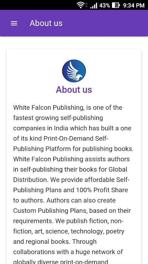White Falcon Publishing- screenshot