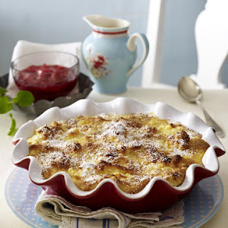 Baked Marzipan Rice Pudding with Rhubarb Compote.