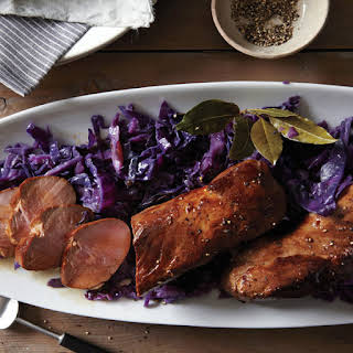 Beer-Marinated Pork Tenderloin with Red Cabbage.