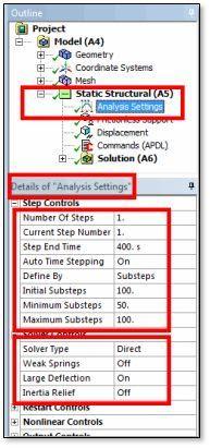 ANSYS | Настройки расчёта (Analysis Settings)