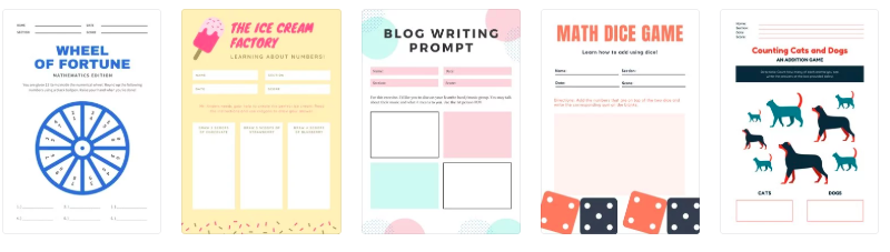 Worksheets created on Canva