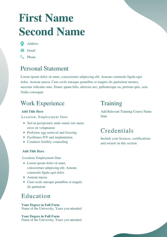 CV templates for nurses