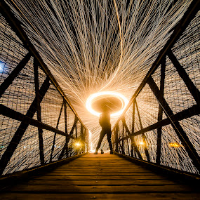 Burning Bridges by Lorraine Paterson - Buildings & Architecture Bridges & Suspended Structures ( scotland, fire spinning, steel wool, long exposure, bridge )