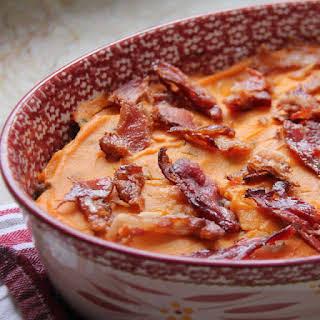Layered Ground Turkey and Potato Casserole with Bacon.