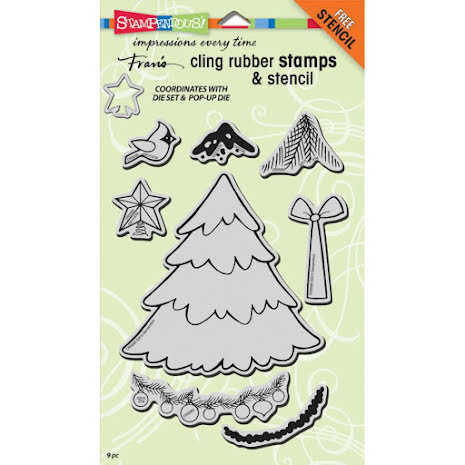 Stampendous Cling Stamps & Stencil 5X7 - Create Christmas Set UTGÅENDE
