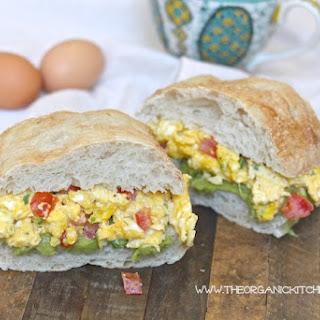 Egg and Avocado Mash Breakfast Sandwich.
