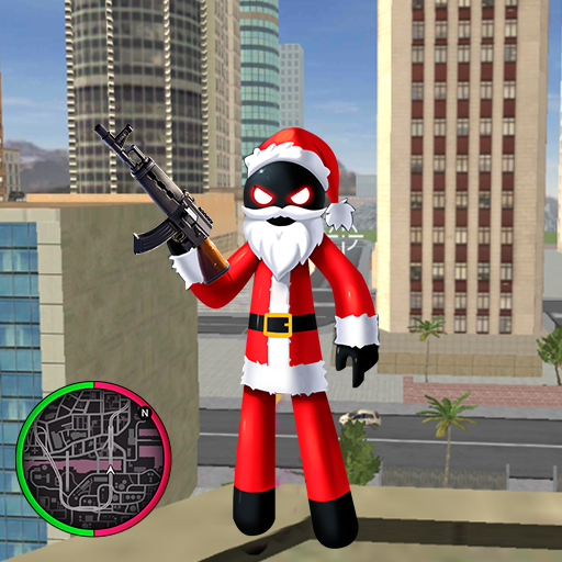 Santa Claus Stickman Rope Hero Gangstar Crime