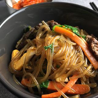 Korean Sweet Potato Noodles (Japchae).