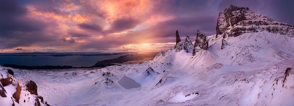 Photo: Sunrise over the Old Man of Storr on the Isle of Skye.  Taken last week in a freakishly windy day! 15 shot pano.