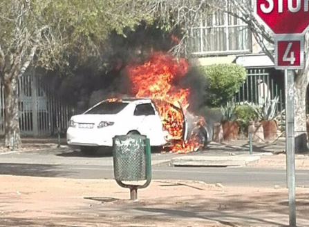 A Toyota Quest was set alight at the corner of Arcadia and Beckett streets on Wednesday afternoon.
