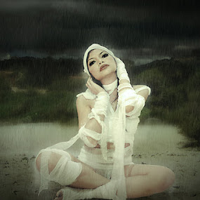 rain mummy by Budi Purwito - Digital Art People ( budibudz, dark, cloud, mummy, compossed, beach, wet, rain )