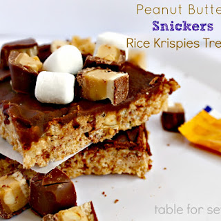 Peanut Butter Snickers Rice Krispies Treats