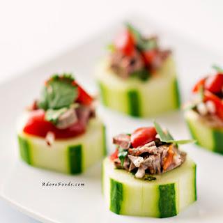 Thai Beef Salad Cucumber Bites Appetizers.