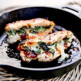 Apple Cranberry Chutney, Spinach and Mozzarella Stuffed Chicken Breasts.