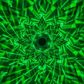 Lasershow by Johan Kvint - Illustration Abstract & Patterns ( art, green, kaleidoscope, laser, trippy, patterns )