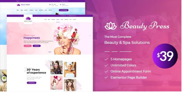 spa and salon wordpress theme