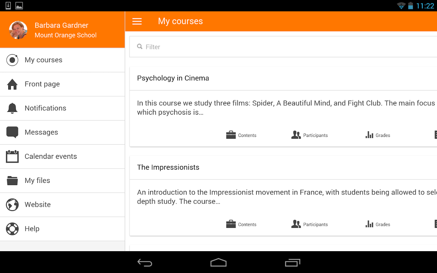 Moodle Mobile: screenshot