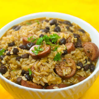 Easy Kick'N Turkey Sausage With Black Beans And Rice.
