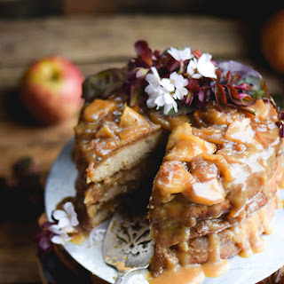 Layered Cinnamon Caramel Apple Upside Down Cake